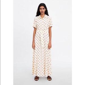 Zara off white polka dot dress with belt.